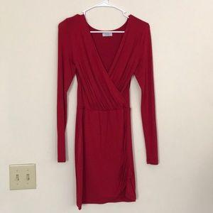 Tobi long sleeve red wrap dress NWOT